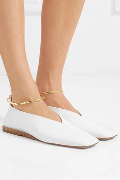 Jil Sander | Embellished glossed-leather ballet flats | NET-A-PORTER.COM