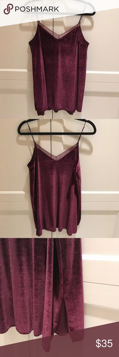 NWOT Free People Velvet Top Velvet maroon top with adjustable straps and mesh overlay on the neckline. From Free People, tags removed but never been worn! Just wasn't fitting in with the rest of my wardrobe, but is in perfect condition.  🌺 comes from smoke/odor free home 🌺 🌺 no trades accepted 🌺 Free People Tops