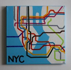 Handmade New York City NYC Subway lines map acrylic painting on 12x12 canvas with matching light blue painted edges.  This canvas is perfect for