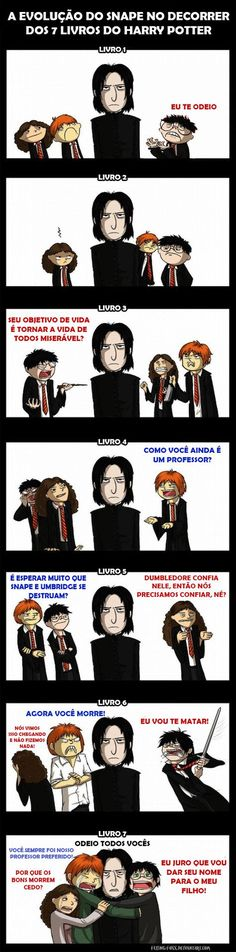 Harry Potter and Snape: The 7 Stages of Denial. Unless you've loved Snape from the beginning. Harry Potter World, Memes Do Harry Potter, Fans D'harry Potter, Mundo Harry Potter, Harry Potter Fandom, Harry Potter Timeline, Harry Potter Comics, Harry Potter Characters, Cartoon Characters