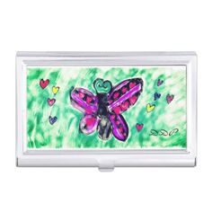 butterfly art 3 business card case  $19.95  by DenaeProsser  - custom gift idea