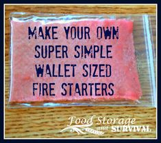 Make Your Own Super Simple Wallet-Sized Fire Starters - Food Storage and Survival Doomsday Prepping, Survival Prepping, Survival Skills, Survival Gear, Survival Quotes, Survival Stuff, Survival Fishing, Survival Hacks, Simple Wallet