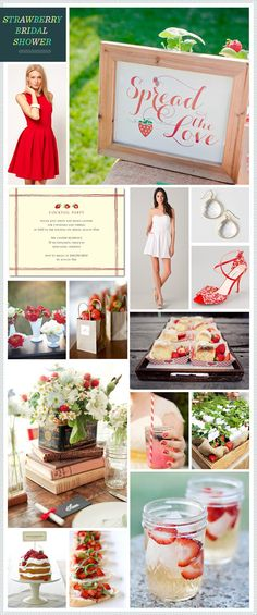 Strawberry Bridal Shower. my mom would love this Strawberry  Strawberries for the red white and grey theme aek