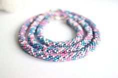 Items similar to Pink and blue beaded rope necklace and bracelet set. Jewelry set in pink, white and turquoise. Bead crochet jewelry set on Etsy Rope Necklace, Beaded Necklace, Bead Crochet, Bracelet Set, Jewelry Sets, Pink White, My Etsy Shop, Handmade Items, Turquoise