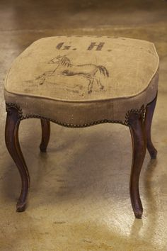 Antique French vanity stool recovered in authentic antique German grain sack