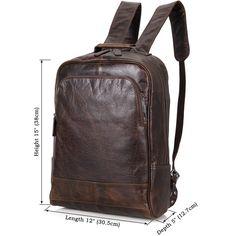 Leather Laptop Backpack - Dark Brown