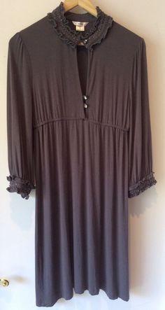 Esley Anthropologie Ruffled Rhinestone Teardrop Boho Dress Dark Gray Women Sz M #Esley #Tunic #Clubwear