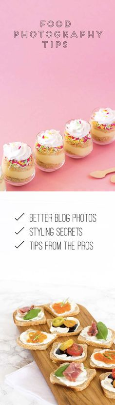 Food photography tips   Take better food photography for your blog and business. These simple photography tips will boost your brand.