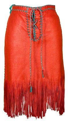 1980s Medium Skirt Red Buckskin Fringed Leather Hippie Bohemian Native American Indian Costume Coachella Western Southwest Tribal Festival