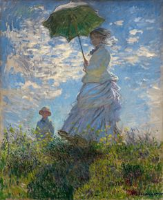 Art History News: Monet, Renoir - Argenteuil and its Historic Role in the Development of Impressionism. - Particularly memorable is his celebrated Woman with a Parasol–Madame Monet and Her Son from the National Gallery of Art's collection. Claude Monet Werke, Claude Monet Pinturas, Monet Paintings, Impressionist Paintings, Artwork Paintings, Classic Paintings, Famous Art Paintings, Paintings Online, Classic Artwork