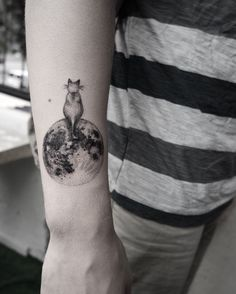 Moon and cat tattoo by Cansu Olga