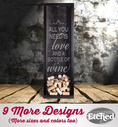 Wine Cork Shadow Box with Love Quote by EverythingEtchedAZ on Etsy