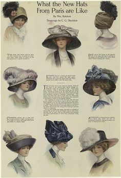 edwardian period Hats from Aren't they beautiful? Wonder how much they weigh. How hard there were to wear? Hats from Aren't they beautiful? Victorian Hats, Edwardian Era, Edwardian Fashion, Vintage Fashion, 1930s Fashion, Fashion Goth, Victorian Life, Victorian Dresses, French Fashion