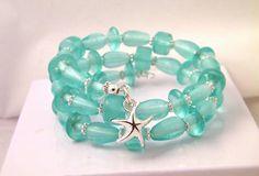 Teal glass memory wire bracelet starfish charm jewelry ladies beaded wrap. $17.25, via Etsy.