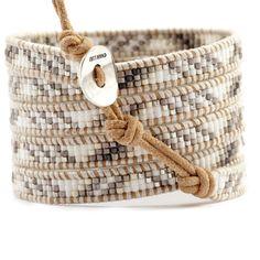 Chan Luu - White Mix Wrap Bracelet on Beige Leather, $210.00 (http://www.chanluu.com/wrap-bracelets/white-mix-wrap-bracelet-on-beige-leather/)