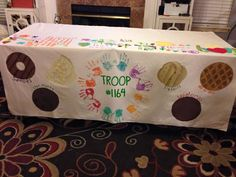 I absolutely LOVE this table cloth! Girl Scout Swap, Girl Scout Leader, Girl Scout Troop, Brownie Quest, Brownie Girl Scouts, Girl Scout Cookie Sales, Girl Scout Cookies, Gs Cookies, Girl Scout Activities