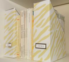 diy yellow zebra magazine storage