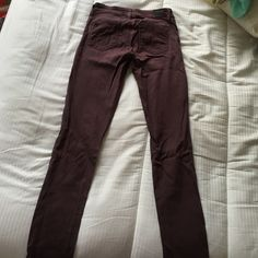 Paige jeans skinny low rise & stretchy Extremely comfortable low-waisted jeans. Very stretchy, I'm excellent condition, only worn a handful of times. Fun and unique plum color. This item is a steal! Paige Jeans Jeans Skinny
