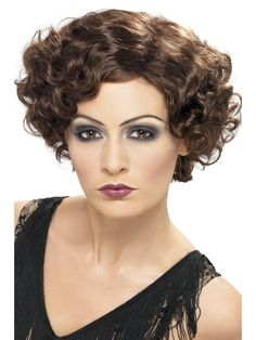 Smiffys Women's Short and Wavy Brown Wig, Flirty Flapper Wig, One Size, 42004 Best Halloween Costumes & Dresses USA 1920s Wig, 1920s Flapper, 1920s Fancy Dress, Fancy Dress Wigs, Fancy Dress Accessories, Costume Accessories, Costume Wigs, Costume Dress, Style Charleston