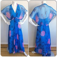 Vintage Luis Estevez Dress / Blue & Pink Floral Vintage Maxi