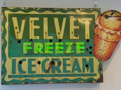 Before Ted Drewes was a household name, Velvet Freeze ice cream was on nearly every St. In the early there were almost 60 Velvet Freeze ice-cream parlors scattered at high-traffic corners in the St. Vintage Neon Signs, Vintage Decor, Kansas City Missouri, St Louis Mo, Roadside Attractions, Roadside Signs, Old Signs, Down South, My Childhood Memories