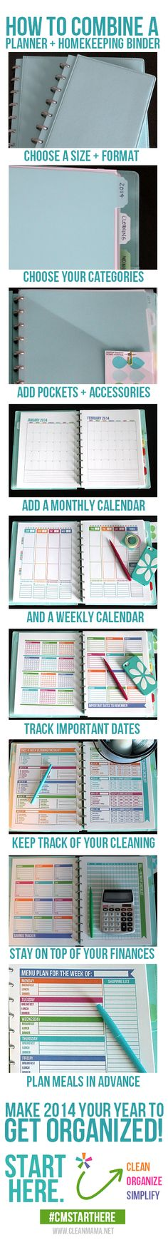 Tired of trying keep all the schedules, your homekeeping binder and your planner in sync? Try out this method of combining everything in to one and get your life in order. Via Clean Mama