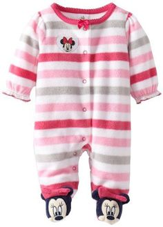 Disney Baby Baby-Girls Newborn Minnie Mouse Stripe Fleece Sleep and Play Footie…