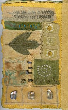 Meg Fowler - Jane's Book - Pieced page - Paper piecing with dried fern, leaf and flowers, turquoise beads, abalone shell, sticks, handmade paper, hand embroidery