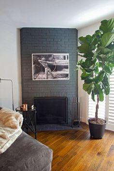 Most current Pic black Brick Fireplace Ideas Modern Rustic Painted Brick Fireplaces Ideas 44 Black Brick Fireplace, Black Brick Wall, Painted Brick Fireplaces, Paint Fireplace, Grey Brick, Fireplace Ideas, Fireplace Modern, Fireplace Design, Fireplace Mantels