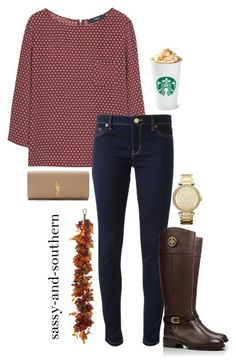 fall outfit by sassy-and-southern ❤ liked on Polyvore featuring mode, MANGO, Michael Kors, Tory Burch, MICHAEL Michael Kors, Yves Saint Laurent, Winward, ToryBurch, fall2015 en sassysouthernfall