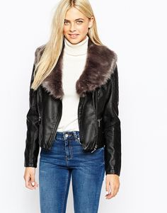 Oasis Leather Look Jacket with Detachable Faux Fur Collar