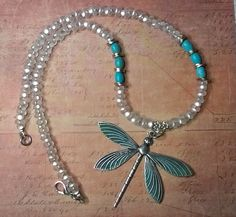 Items similar to Dragonfly necklace - turquoise patina necklace - white blue necklace - choker necklace - handmade jewelry by salakaappi on Etsy Dragonfly Necklace, Blue Necklace, Beaded Necklace, Handmade Necklaces, Handmade Jewelry, Unique Jewelry, Jewelry Ideas, Handmade Gifts, Chokers