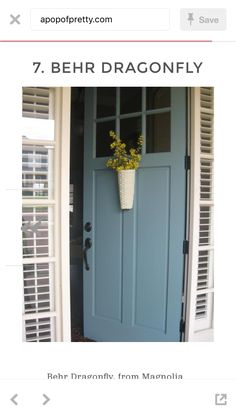 Door Color Ideas: 10 Pretty Blue Doors There's just something about a blue door! Here are 10 of my favorite blue door color ideas, from aqua to navy blue (with paint names). Exterior Door Colors, Front Door Paint Colors, Painted Front Doors, Paint Colors For Home, Exterior Doors, Entry Doors, Blue Front Doors, Yellow House Exterior, Entrance