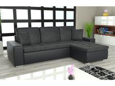 Rohová sedačka YORK L univerzální, černá látka/černá ekokůže Rozkládací rohová sedačka YORK L univerzální Sedačka je univerzální = roh lze smontovat na pravý i levý. Obrázek rozložené sedačky je jen ilustrativní (jiná barva a typ … Outdoor Sectional, Sectional Sofa, Couch, Outdoor Furniture, Outdoor Decor, Home Decor, Modular Couch, Settee, Decoration Home