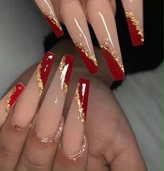 Gold Acrylic Nails, Long Square Acrylic Nails, Acrylic Nails Coffin Short, Simple Acrylic Nails, Coffin Shape Nails, Summer Acrylic Nails, Gold Coffin Nails, Red And Gold Nails, Long Red Nails