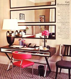 TiffanyD: Decorating with Mirrors and Mirrored Furniture... At My House ~ horizontal placement.