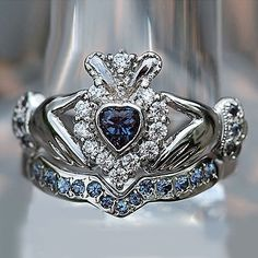 White Gold Over Heart Shape Sapphire amp Diamond Bridal Set Claddagh Ring Gothic Engagement Ring, Engagement Ring Settings, Claddagh Engagement Ring, Solitaire Engagement, Bridal Ring Sets, Bridal Rings, Bridesmaid Jewelry, Wedding Jewelry, Silver Claddagh Ring
