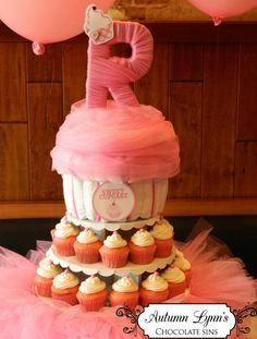 Cute  girl pink cupcake baby shower