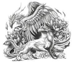 Mystical Phoenix and Wolf (Upper Arm Half Sleeve) Wolf Tattoos, Baby Tattoos, New Tattoos, Black And Grey Sleeve, Black And Grey Tattoos, Tattoo No Peito, Tattoo Painting, Lion King Art, Phoenix Tattoo Design