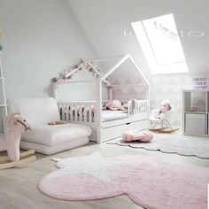 Na zdjęciu cudny pokoik dzięki któremu można się pięknie zainspirować:)… In the picture a wonderful room thanks to which you can be beautifully inspired:] 😍 right ? :] A housebed with a barrier fence and a drawer … Diy Toddler Bed, Toddler Rooms, Toddler Bedding Girl, Girl Bedroom Designs, Girls Bedroom, Baby Room Decor, Nursery Room, Fantasy Bedroom, Kids Room Design