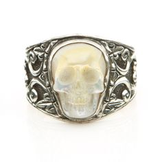 Mother of Pearl Skull Ring