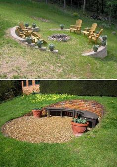 Yard is very important corner of your great house because it is the place you can relax in the upcoming warm days. So when you plan to design your house exterior, don't ignore the yard landscaping. Amazing backyard landscape designs on a budget Fire Pit Backyard, Backyard Patio, Backyard Seating, Fire Pit Off Patio, Steep Backyard, Desert Backyard, Garden Fire Pit, Fire Pit Seating, Garden Seating
