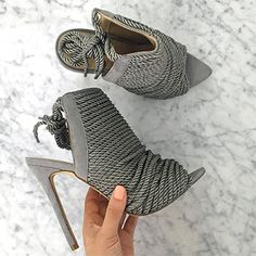 Carli Bybel showing her Missguided Rope Detail Peep Toe Grey Ankle Boots https://api.shopstyle.com/action/apiVisitRetailer?id=520500851&pid=uid7729-3100527-84. #style #celebstyle