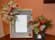 Barnwood Frame and Lantern Set by TheBloomingWreath on Etsy, $49.99