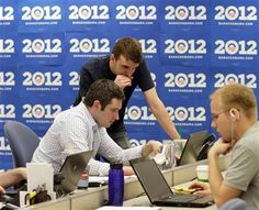 Campaign staff work in President Barack Obama's new campaign headquarters in Chicago, May 12, 2011.