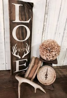 "Measures approx. 24""h x 8""w Sign is lightly distressed with a dark brown stain and your choice of cream or turquoise lettering. Handmade in Eau Claire, WI.  +Le"