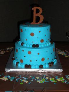 Blue & brown baby shower cake