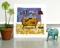 Yellow TwoSeater 10 x 10 Print on paper by KSGtextileart on Etsy, $41.00
