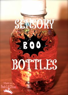 Preschoolers LOVE sensory bottles;have never done this adorable Halloween one.....can't wait for them to have one!