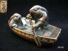 Superb Early 19th Century Inlaid Wood Netsuke of Rabbits in a Boat Signed Ikko
